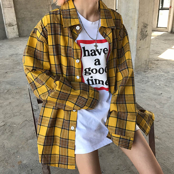 90s Kids Shirt in Plaid Check
