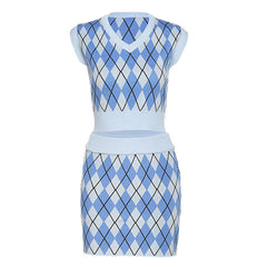 Argyle Check Top skirt boogzel apparel
