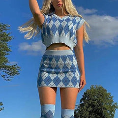 Argyle Check Top & Skirt Co-ord