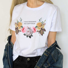A head for business and a bod for sin T-Shirt body aesthetic grunge flower floral text print printing boogzel apparel quote tumblr soft grunge aesthetics