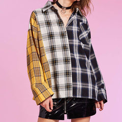 yellow grey checkered shirt boogzel apparel