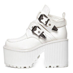 white BUCKLE GRUNGE SANDALS boogzel apparel