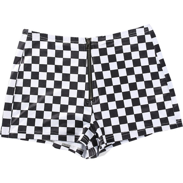 Checker Zip Shorts