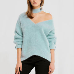 Choker Neck Asymmetric Sweater