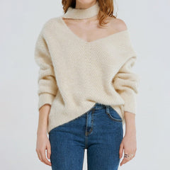 Free Shipping Buy Choker Neck Asymmetric Sweater at Boogzel Apparel