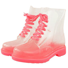 transparent pink boots boogzel apparel