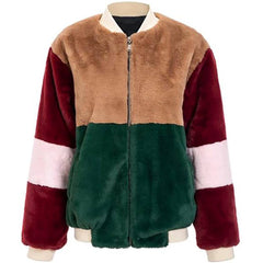 Color Block Fuzzy Jacket at Boogzel Apparel