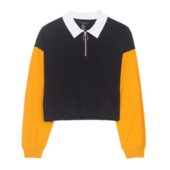Color Block Zip Up Tee