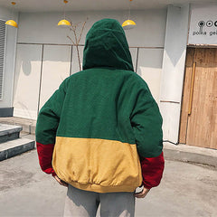 green hooded Corduroy Jacket