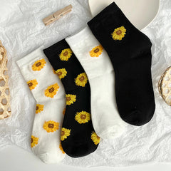 Sunflower Print Socks