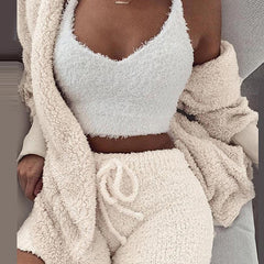 Cozy Up Top + Skirt + Jacket Set