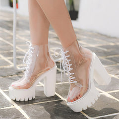 Clear Lace Up Heels