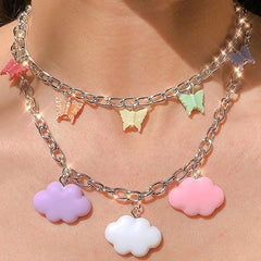 Butterfly & Clouds Pastel Necklace boogzel apparel