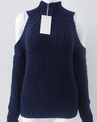 navy blue High Neck Cold Shoulder Jumper buy shop boogzel apparel
