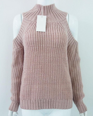 pink High Neck Cold Shoulder Jumper buy shop boogzel apparel