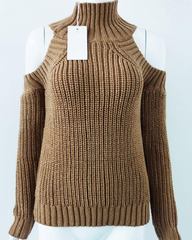 brown High Neck Cold Shoulder Jumper buy shop boogzel apparel