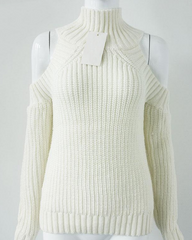 white High Neck Cold Shoulder Jumper buy shop boogzel apparel