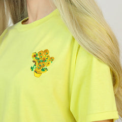 Van Gogh Sunflowers T-Shirt embroidery embroidered art in Yellow