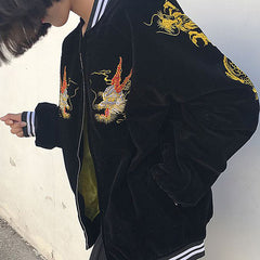 black embroidered Japanese Dragon Bomber Jacket boogzel apparel
