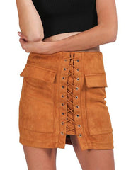 Lace Up Faux Suede Mini Skirt camel boogzel apparel