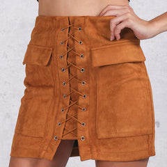 Lace Up Faux Suede Skirt