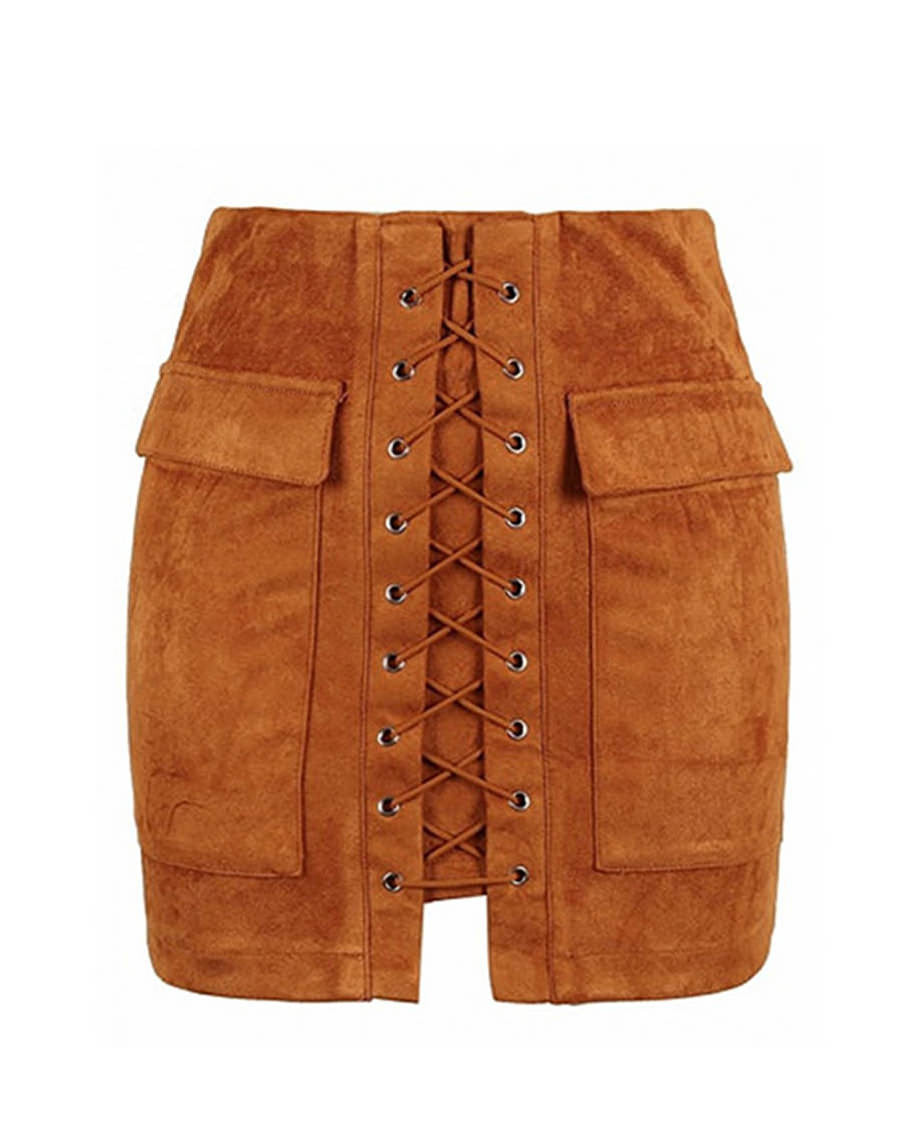 ab3084cb8 ... Lace Up Faux Suede Mini Skirt brown boogzel apparel ...