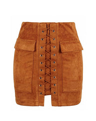 Lace Up Faux Suede Mini Skirt brown boogzel apparel