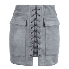 Lace Up Faux Suede Mini Skirt gray boogzel apparel