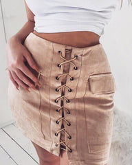 Lace Up Faux Suede Skirt boogzel