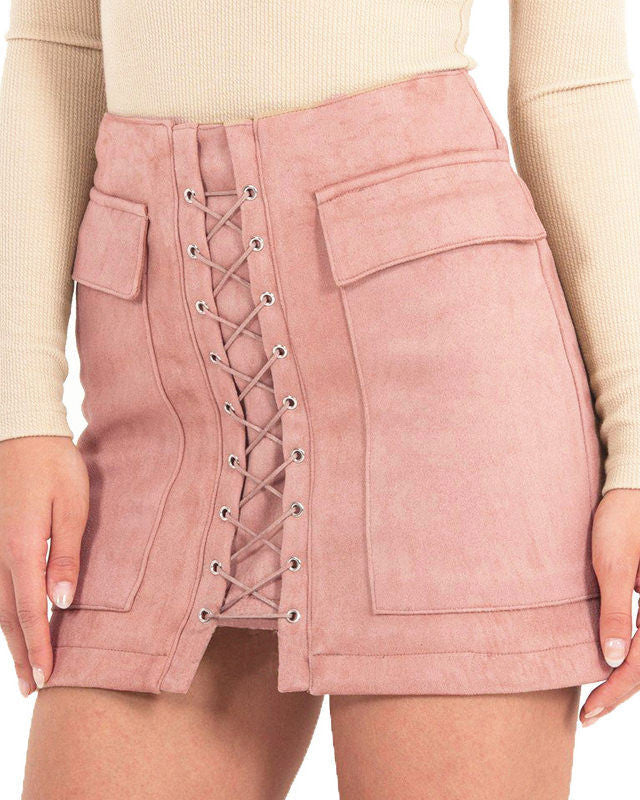 a159d119b Lace Up Faux Suede Skirt Lace Up Faux Suede Skirt usa ...