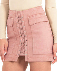 Lace Up Faux Suede Mini Skirt pink boogzel apparel