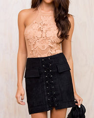 Lace Up Faux Suede Skirt black