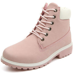 Lace Up Pink Flat Boots at Boogzel Apparel