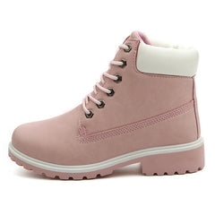 Shop Lace Up Pink Flat Boots at Boogzel Apparel