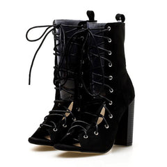 Luna Lace Up Heels