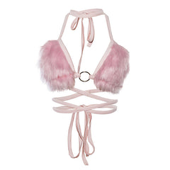 Light Pink Fuzzy Bra Top