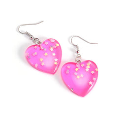 heart glitter earrings boogzel
