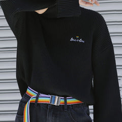 gay embroidery Love is Love High Neck Jumper