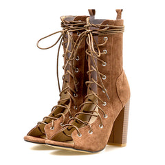 Luna Lace Up Heels at Boogzel Apparel