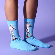 Michelangelo David Statue Socks boogzel apparel blue painting