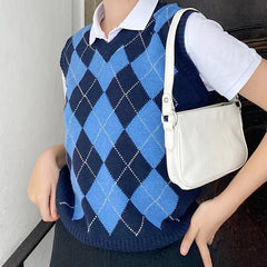 Navy Blue Argyle Vest boogzel apparel