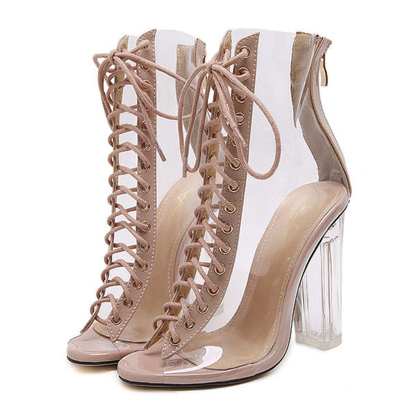 076d84fc9 Nude Clear Lace Up Heels