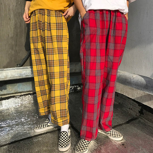 90s Kids Pants in Plaid Check