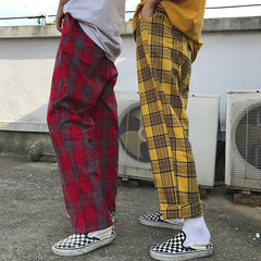 90s yellow plaid pants boogzel apparel