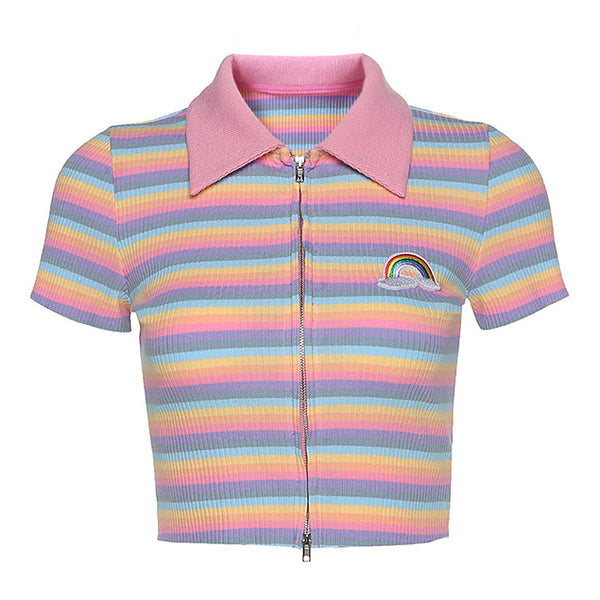 Pastel Rainbow Zip Top