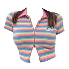 Pastel Rainbow ribbed Zip Top