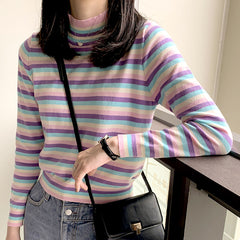 Shop Pastel Striped Turtleneck Jumper at Boogzel Apparel