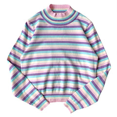 Pastel Striped Turtleneck Jumper at Boogzel Apparel