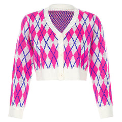 pink argyle knit cardigan boogzel apparel
