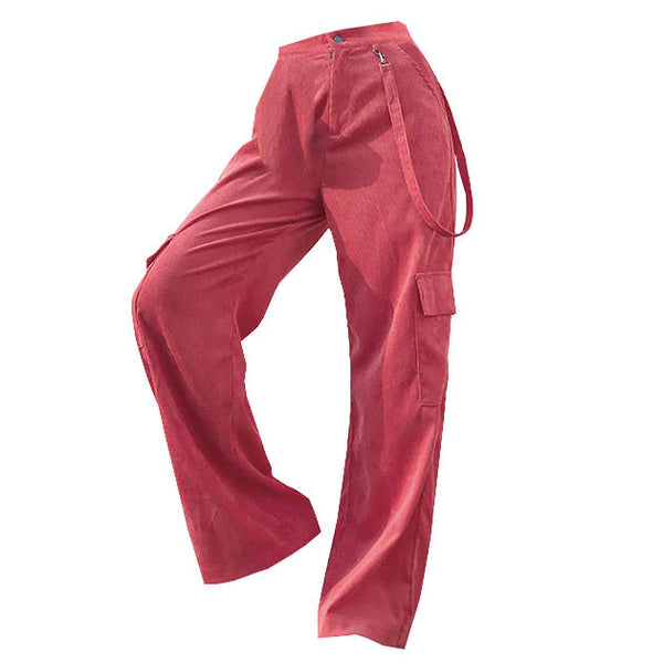 Pink Cord Cargo Pants